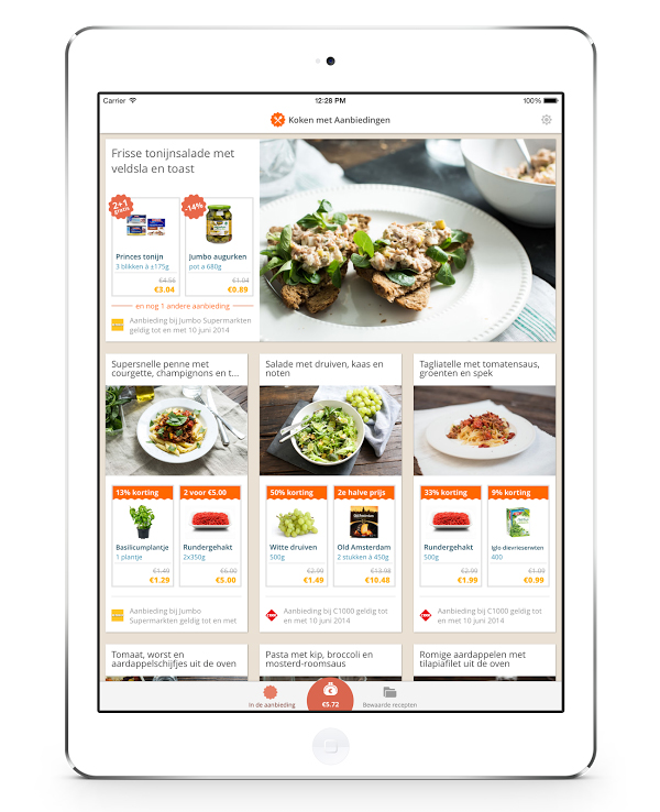 koken met aanbiedingen app
